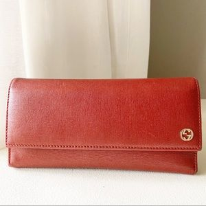 Gucci - Authentic Continental Brick Red Wallet